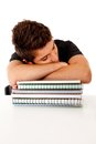 Male student fallen asleep Stock Image