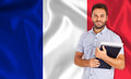 Male student over French flag Royalty Free Stock Photo