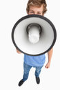 A male student speaking in a megaphone Royalty Free Stock Photography
