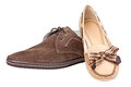 Male suede shoe and female loafer, with path Royalty Free Stock Images