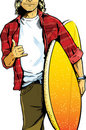 Male surfer dude carrying a surfboard Royalty Free Stock Images