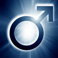 Male symbol on a soft blue background Stock Photography