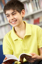 Male Teenage Student In Library Reading Book Royalty Free Stock Image