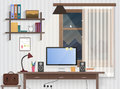 Male teenager room with workplace. Modern man style room interior design with furniture.