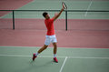 Male tennis player practice in tennis court Royalty Free Stock Photo