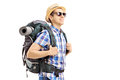 Male tourist with backpack walking isolated on white background Royalty Free Stock Image