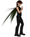 Male urban fairy with leather pants and green wings d digitally rendered illustration Royalty Free Stock Image