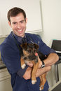 Male Veterinary Surgeon Holding Dog In Surgery Stock Photography