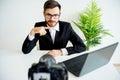 Male video blogger