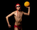 Male water polo player studio shot over black Royalty Free Stock Photos