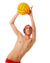 Male water polo player studio shot over white Stock Photos