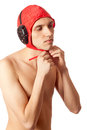 Male water polo player studio shot over white Royalty Free Stock Image