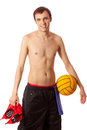 Male water polo player studio shot over white Royalty Free Stock Photos