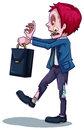 A male zombie with a bag illustration of on white background Royalty Free Stock Photos