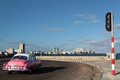 Malecon morning view havana cuba february classic old american car in the streets of havana classic cars are still in use in cuba Stock Image