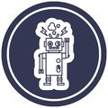 malfunctioning robot circular icon symbol Royalty Free Stock Photo
