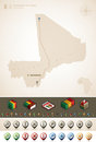 Mali republic of and africa maps plus extra set of isometric icons cartography symbols set part of the world maps set vector Stock Image