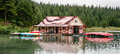 Maligne lake jasper national park alberta august the boa boathouse at in on Royalty Free Stock Image