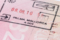 Mallorca stamp in passport Royalty Free Stock Photo