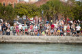Mallory square in key west florida hundreds of tourists gathering at is a plaza located the city of united states for the sunset Royalty Free Stock Photo
