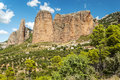Mallos de riglos with fields view of the is a cloudy day it is located in the spanish province of huesca along the pyrenees you Royalty Free Stock Photos