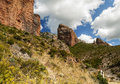 Mallos de riglos view of the is a cloudy day it is located in the spanish province of huesca along the pyrenees Royalty Free Stock Photography