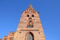 Malmo landmark sweden brick church tower city in scania county skane in swedish and oresund region Royalty Free Stock Photography