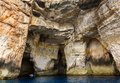 Malta gozo island view of the rocky coastline one caves at dwejra Royalty Free Stock Image