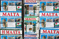 Malta guide books a close up of for displayed in a stand outside of a shop Stock Images