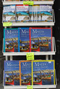 Malta guide books a close up of for displayed in a stand outside of a shop Stock Photo