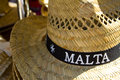 Malta hat a straw had with on a band Royalty Free Stock Image