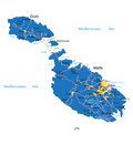 Malta map highly detailed vector of with administrative regions main cities and roads Stock Photo