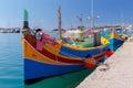 Malta. Marsaxlokk. Traditional fishing boats. Royalty Free Stock Photo
