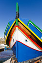 Maltese luzzu gozo malta traditional boat in marsalforn Royalty Free Stock Image