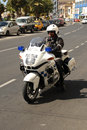 Maltese police motorcycle patrol sliema malta march Royalty Free Stock Photo