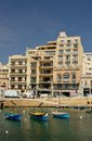 Maltese sliema old city bay a of with boats at sunny day Stock Photography