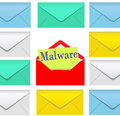 Malware email open envelope security risk Royalty Free Stock Image
