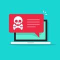 Malware notification on laptop vector, spam data, fraud internet virus