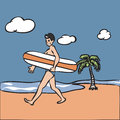 Mam holding surf board on beach man walking Stock Photo