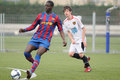 Mamadou tounkara training with f c barcelona youth team against gimnastic de tarragona at ciutat esportiva joan gamper jan Royalty Free Stock Photo