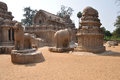 Mamallapuram india the panch rathas monolithic rock cut temple complex at tamil nadu Stock Images