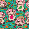 Mammal unknown specific cute seamless pattern this illustration drawing with natural and green color Royalty Free Stock Photography