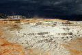 Mammoth hot springs terraces under a dark sky yellowstone wyoming usa Royalty Free Stock Image