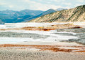 Mammoth hot springs yellowstone national park wyoming has colorful dramatic landscape limestone deposited geothermally heated Stock Image
