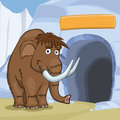 Mammoth Near Cave Royalty Free Stock Image