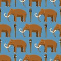 Mammoth vector mammal animal character with tusk and trunk in ancient stoneage illustration of prehistoric elephant