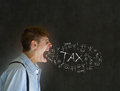 Man accountant teacher businessman big mouth angry shouting chalk tax blackboard background Stock Image