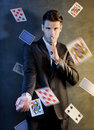 Man with ace up his sleeve concept Stock Photography