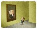 Man admiring portrait of his predecessor businessman Stock Image