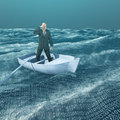 Man Adrift in binary ocean Royalty Free Stock Photo